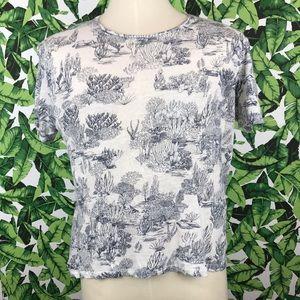 Zara Man White Navy Coral Print Tee Shirt